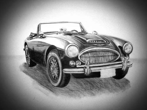 1967 Austin Healey 3000 Mk III charcoal drawing.