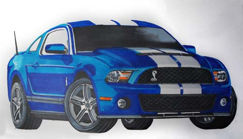 2009 Mustang Shelby GT500 Marker Pen Drawing.
