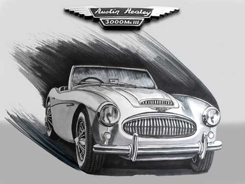 Austin Healey 3000 MKIII Marker Pen Drawing.