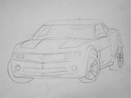 How to draw easy a Camara RS sports car tracing.