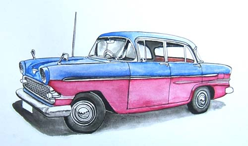 1950s Vauxhall Victor Drawing, Painting With Water Colors.