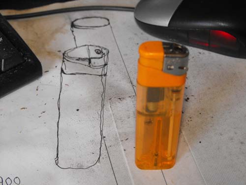 Anamorphic lighter drawing with drawing ink pen