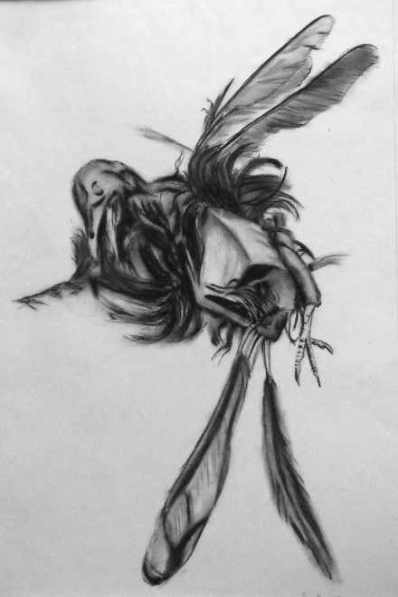 Dead Bird Drawn With Compressed Charcoal