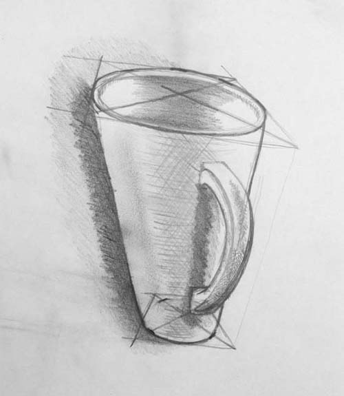 A single point persepctive drawing of a cup that is distorted.