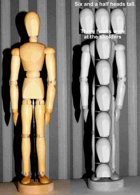 Images of a wooden manikin figures with one showing how a head can be used to judge proportion.