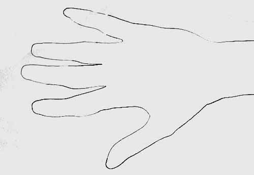Basic outline of hand showing no detail.