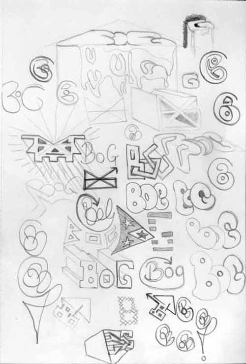 3D graffiti design sheet of ideas drawn with a 3B graphite pencil.