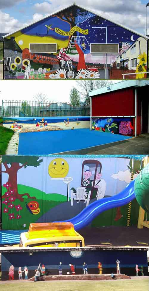 Make your own graffiti art, Images of Brynteg, Caia Park Nursery, Gate Hangs High, Chester, Blacon YPP murals on buildings and an installation piece at Caia Park Nursery.