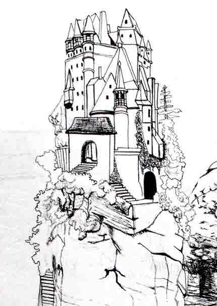 Easy pictures to draw lonely cliff castle.