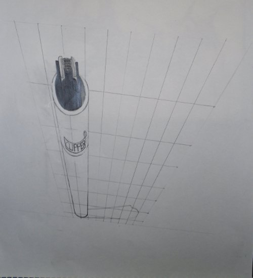 Anamorphic Perspective lighter drawing viewed from the front.