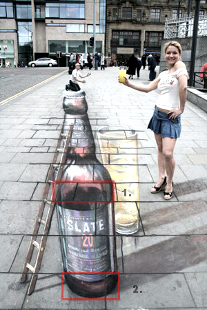 Julian Beever 3D Beer Bottle chalk drawing.