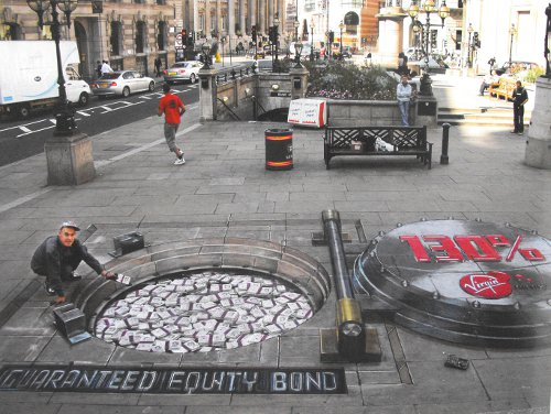 Julian Beever sidewalk art-chalk art.