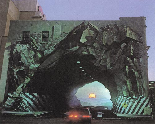 Mural On Wall, Optical illusion,TUNNELVISION by artist, Blue Sky.