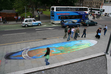 Chalk art drawing showing elongation for creating anamorphic perspective.