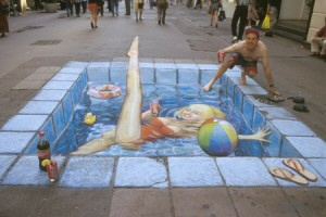 Julian Beever sidewalk art, Swimming Pool on the high street.