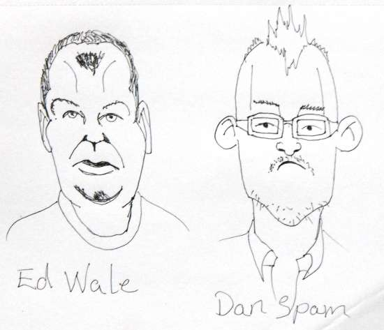 Ed Wale and Dan Spam Internet Gnus two caricature's based on real people, Easy drawings of cartoons.