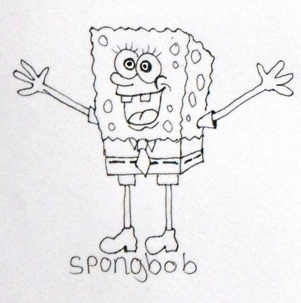 Easy drawings of cartoons Spongbob drawing.