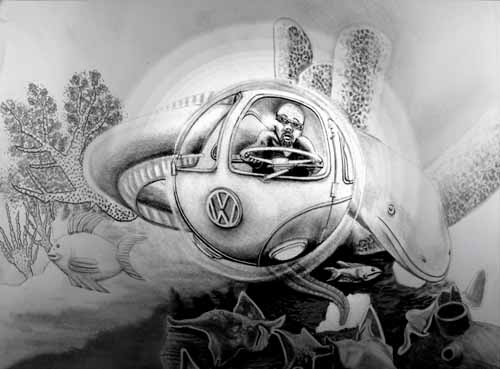 VW Underwater Concept Car, how to draw from memory and imagination.