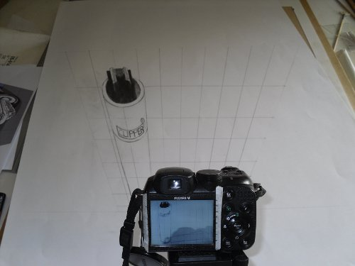 3D Drawing Through Camera Lens Showing Lighter And Grid Showing Visual Plane.