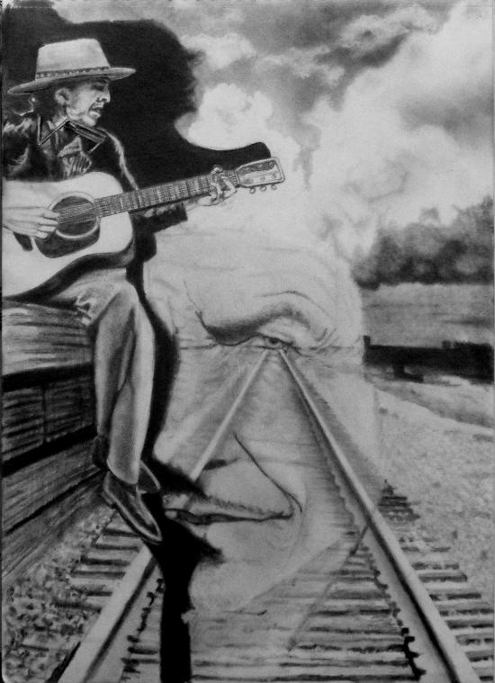 Bob Dylan, never ending tour graphote drawing of the portrait idea.