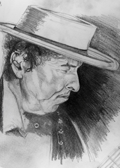 BobDylanPencilPortraitDrawing Portrait drawing of Bob Dylan, The Never Ending Tour