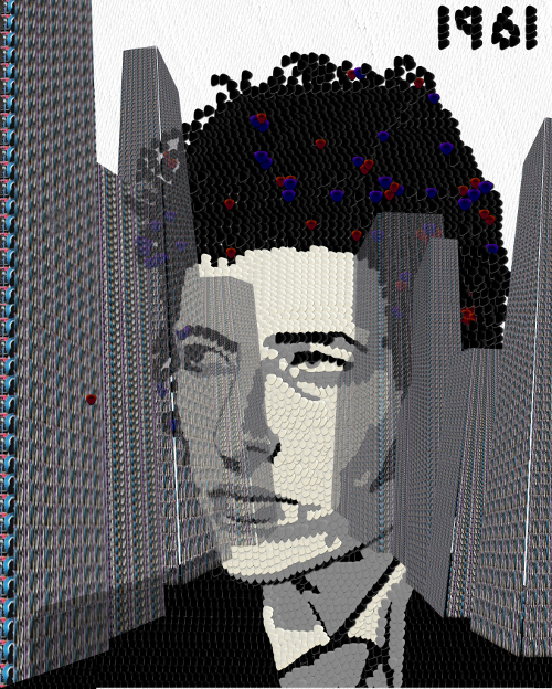 New York City Landscape made from guitar picks Portrait drawing of Bob Dylan, The Never Ending Tour
