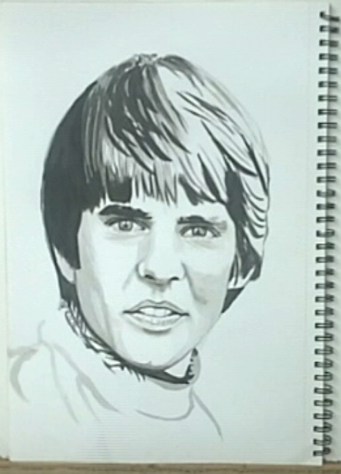 How to paint portrait drawings with ink paining/drawing of Davy Jones, singer with The Monkees.