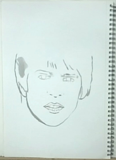 starting outlines No. 3, Davy Jones, The Monkees, ink drawing.