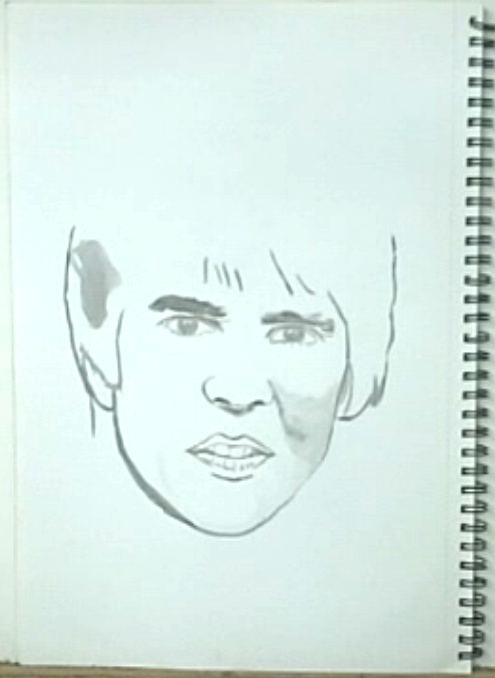 outlines of ink drawing, Davy Jones of The Monkees, No. 4