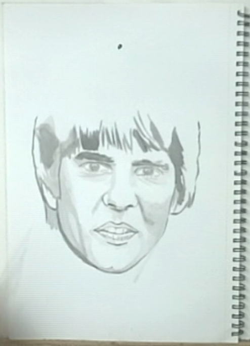 Davy Jones, drawing, showing mark for the top of the head, No. 7