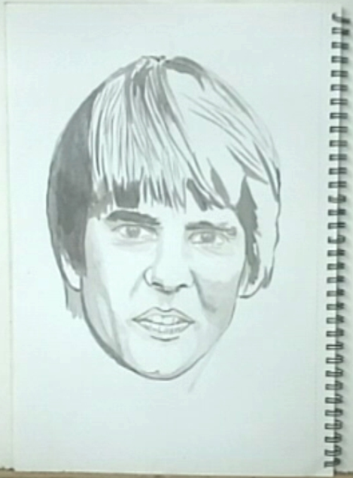 Davy Jones, drawing, basics done of outlines and shading, No. 8