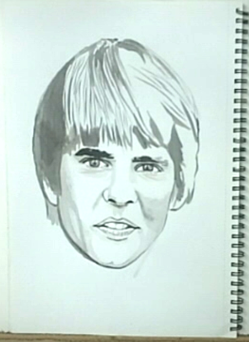 Davy Jones, drawing, black added to eyes, mouth and nose, No. 9